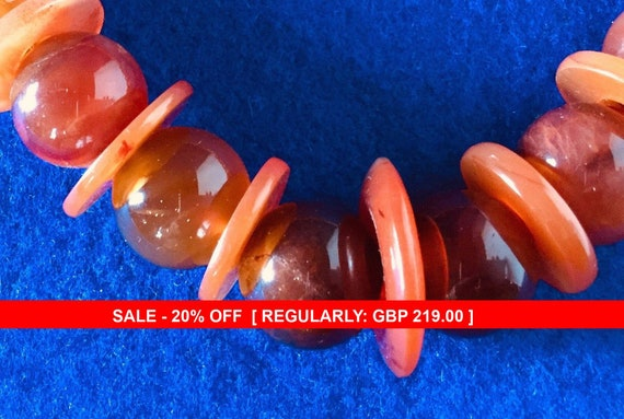1930s Art Deco Carnelian Necklace 22 Inches
