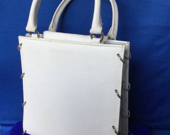 White Leather Paco Rabanne Cylindres Collection Handbag