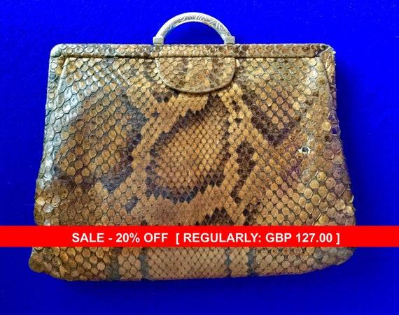 1930s Vintage Snakeskin Clutch Bag .