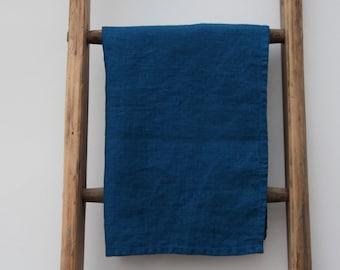 25% SALE - Washed Linen Denim Blue Tea Towel