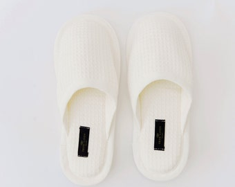 30aaa6d87773 Organic Waffle Weave Bath Spa Unisex Slippers in Off-White
