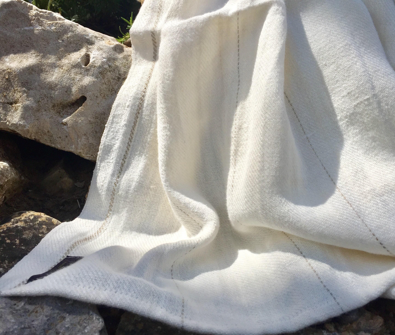 Spa Towels Nz: White / Natural Stripe True Linen Huckaback Bath Towel