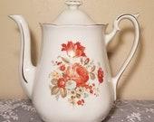 Vintage Teapot The Enterprise Aluminum Company Drip-o-lator Yellow Orange and Mint Floral Design 1940 39 s Victorian Style Serving Pot