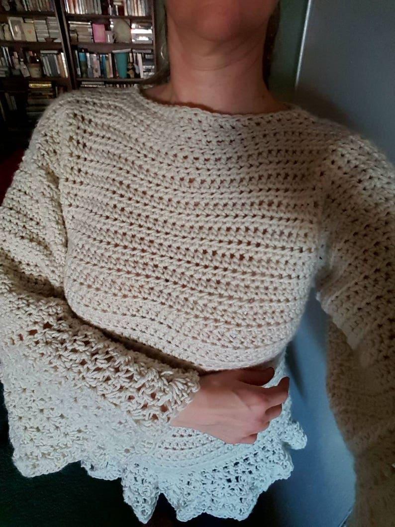 elegant woman/'s sweater exclusive design! bell sleeve sweater Women/'s crochet sweater,Crochet bell sleeve sweater made to order sweater