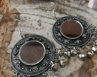 AG-19 Bohemian Boho German Silver Mirror Earrings FREE SHIPPING