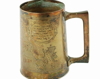 Vintage Engraved Brass WWII Commemorative Tankard Featuring Combat in Italy 1943-1945