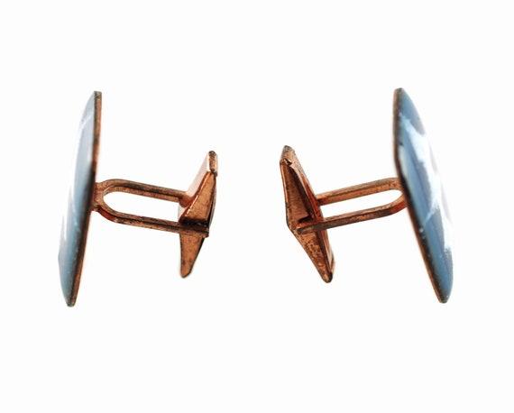 Vintage Mid Century Modern Enamel on Copper Cuff Links Artisan Signed NIK One of A Kind