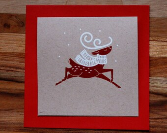 Reindeer Christmas Card - Screen Printed - Hand Made - Canadian - Holiday, Xmas, Winter