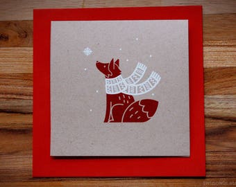 Fox Christmas Card - Handmade Screen Printed on Recycled Stock - Fox Wearing a Scarf - Holiday, Xmas, Winter