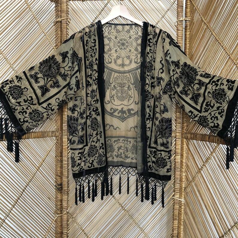 Devore jacket,velvet jacket,fringe jacket,burnout jacket,devore kimono.gypsy jacket boho,velvet kimono,wearable art,burnout kimono