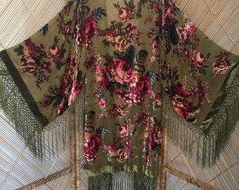 devore kimono velvet jacket,fringe jacket,burnout jacket,devore jacket.gypsy jacket,devore kimono,burnout kimon,boho kimono,floral kimono