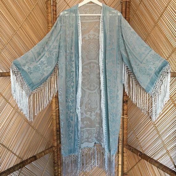Burnout Kimono De Franges Veste Velours Etsy pn5fvOwqxO