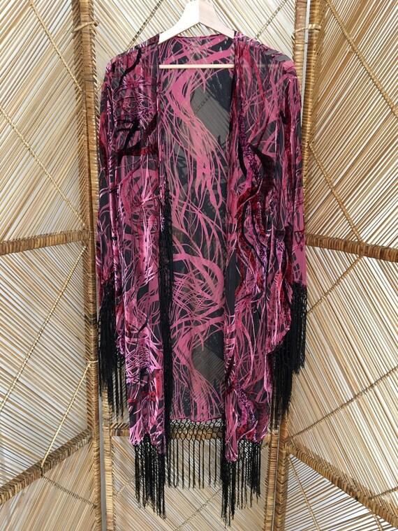 De Frange En Velours Kimono Etsy Veste Ox1qdwd