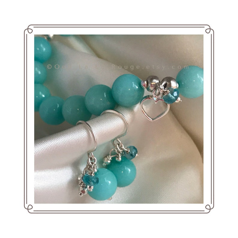 Sterling Silver Heart Charm Apatite Gemstones Hemimorphite Handmade Ear Wires Jewelry Gift for Her Blue Gemstone Bracelet  Earring Set