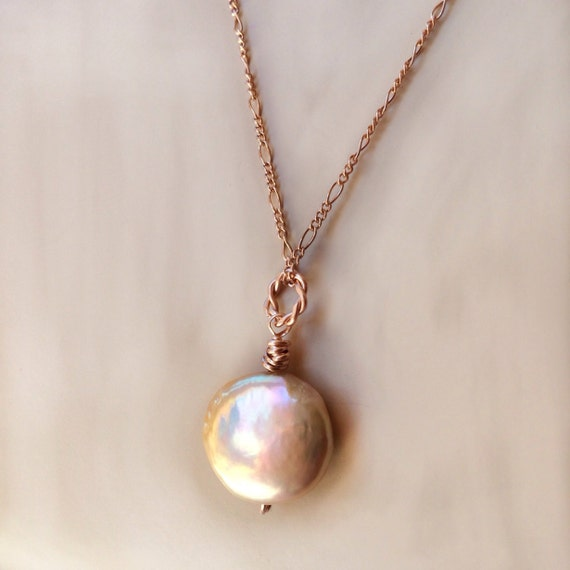 Organic Pearl Rose Gold Filled Pearl Necklace Peach Freshwater Pearl Rose Gold Filled Necklace Minimalist Rose Gold Pearl Necklace