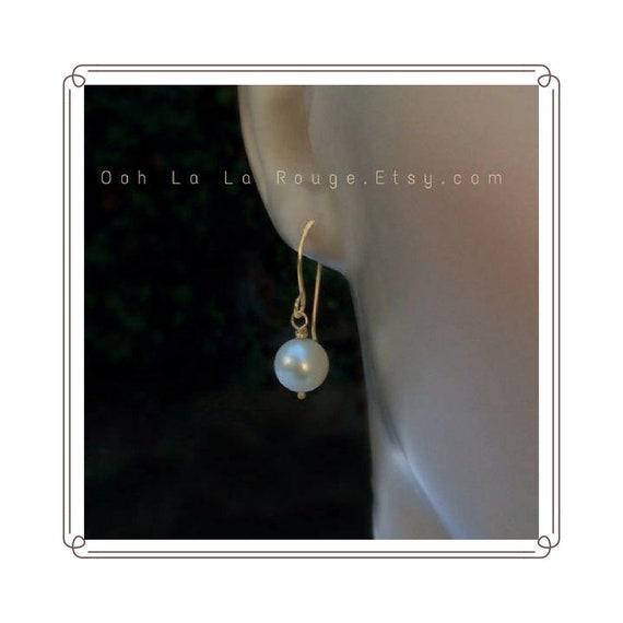Earrings Fine Silver French Ear Wires 2 inch Dangle White Pearl Drop Handmade Links