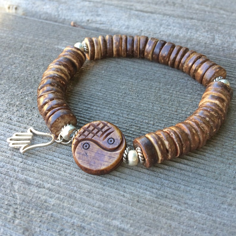 Sterling Silver Hamsa Charm Hill Tribe Fine Silver Yin Yang Carved Wooden Bead Handmade Coco Wood Boho Chic Bracelet Beach-Inspired
