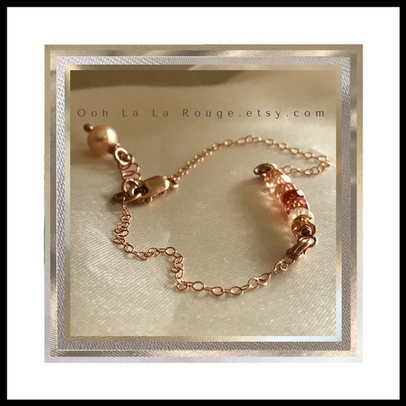 Rose Gold Filled Chain Bracelet with Cubic Zirconium Stones Golden Peach Freshwater Pearl Accent Fine Jewelry Gift Pink