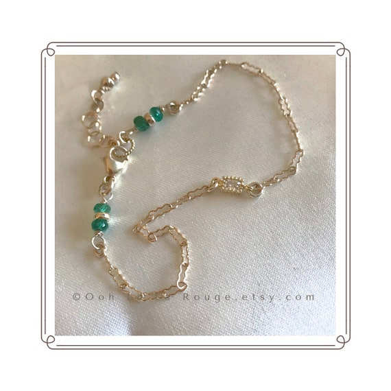 Emerald Bracelet With A 14k Gold Filled Chain. Aaa Columbian Emeralds, A Cz Element. Special Pricing For Christmas. Genuine Gemstones by Etsy