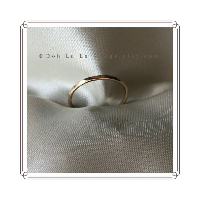 Wedding Ring Handmade Thin Band Ring in 14k Yellow Gold Fill to Wear Alone or Stacked Unisex Jewelry