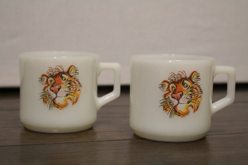 70a5f652942 Milk Glass Fire King Stackable Mugs Put A Tiger In Your | Etsy