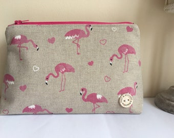 Flamingo cosmetic bag / make-up / pencil case. Matching lining and zip - Make the perfect gifts