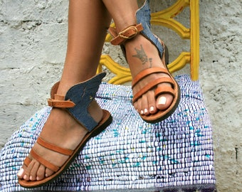 4b0a349f892f Denim Sandals   Shoes   Summer Sandal   Island Outfit   Fashion Shoes    Greek Sandals   Sandales Grecques   Workshop   Marbe Shoes   Hermes