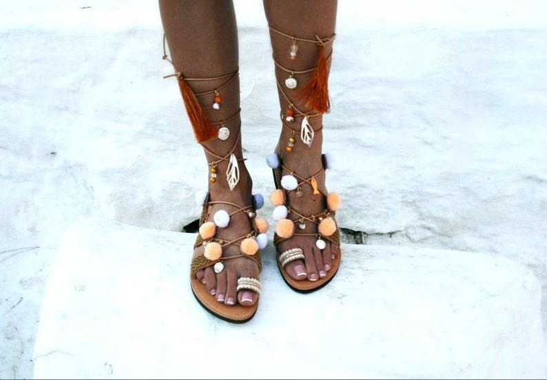 89ea9009f Natural Color Sandal   Handmade Tie Up Sandal   Greek sandals