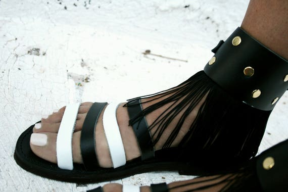Black sandals leather Crochet sandals Onyx style Rock sandals sandals decorated rxTwgqr1