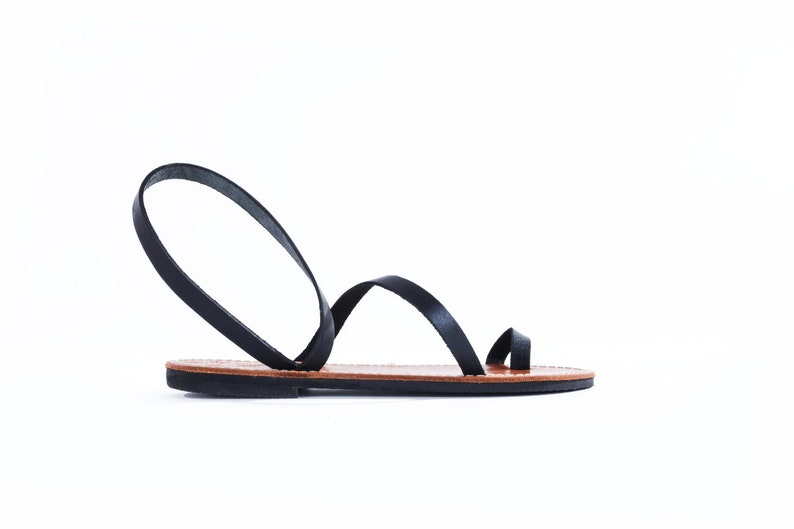 e4dcf602b5b4 Black strap-Genuine Greek Leather Sandal Gaia