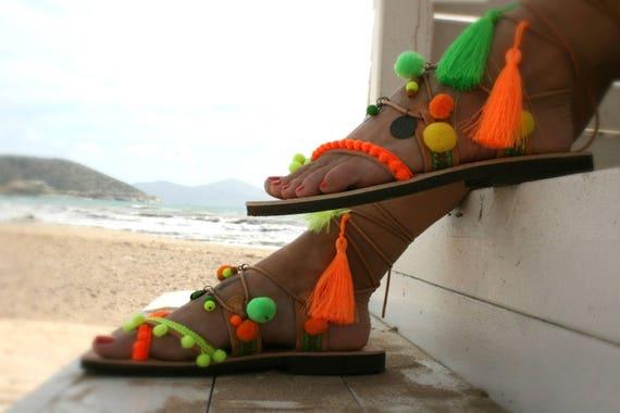Andros vert oranges et chaussures up ethnique Lace boho sandale breloques Fluo zSXwq8P0