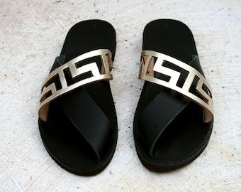 Black leather sandal-Gold sandal- Maiandros -Greek sandal-Handmade shoes