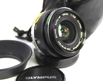 OLYMPUS OM ZUIKO Auto-W 1:2.8 F=28mm Wide Angle Lens.