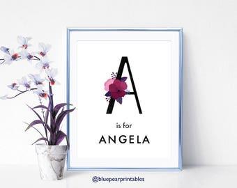 Angela Custom Room Decor Girls Art Lettering Stationary 4x6 Printable 5x7 Print Kids Party Favors Prints