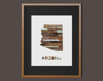 Arizona State Printable Art Arizona Art Printable Arizona Map Printable Wood Wall Art Printable Wall Art Housewarming Gift Arizona Poster