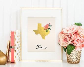 Texas State Printable Art Texas Art Printable Texas Map Printable Faux Gold Foil Printable Wall Art Housewarming Gift Texas Poster