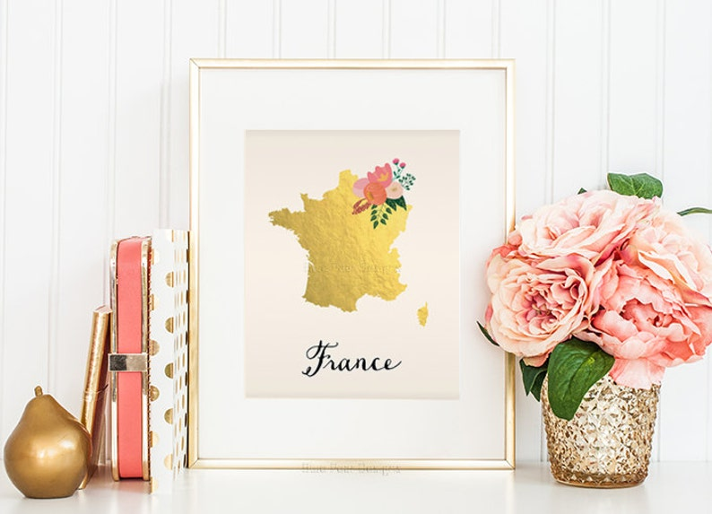 Map France 945.France Map Gold Foil Print Destination Wedding Digital Download