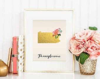 Pennsylvania State Printable Art Pennsylvania Art Printable Pennsylvania Map Printable Faux Gold Foil Printable Wall Art Housewarming Gift