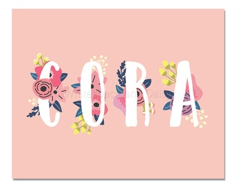 Cora Baby Name Wall Art Cora Baby Name Sign Cora Party Printable Cora Party Decorations Cora Art