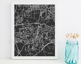 Apex Map Apex Art Apex Map Art Apex Print Apex Printable Apex City Art Apex City Map North Carolina Art