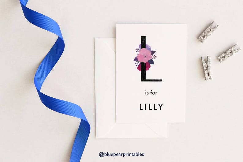 photograph relating to Printable Stationary for Kids referred to as Lilly Status Wall Artwork Small children Printable Stationary Reputation Playing cards Printable Custom made Greeting Card Personalized Lettering Nursery Wall Artwork