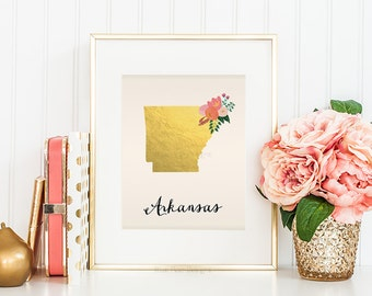 Arkansas State Art Printable Arkansas Art Print Arkansas State Printable Arkansas Wall Art State Map Print Home Wall Art Faux Gold Foil