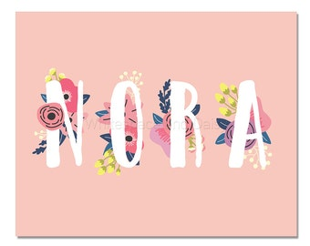 Nora Baby Name Wall Art Nora Baby Name Sign Nora Party Printable Nora Party Decorations Nora Art