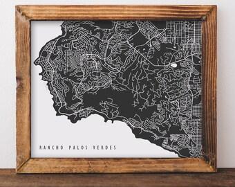 Rancho Palos Verdes Map Rancho Palos Verdes Art Rancho Palos Verdes Map Art Rancho Palos Verdes Print California Art