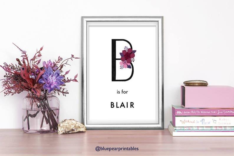 Blair Customized Art Poster Wall Art Kids Poster Floral Wall