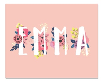 Emma Baby Name Wall Art Emma Baby Name Sign Emma Party Printable Emma Party Decorations Emma Art