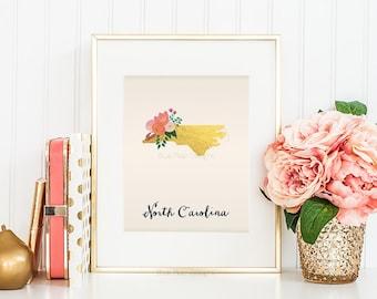 North Carolina State Printable Art North Carolina Art Printable North Carolina Map Printable Faux Gold Foil Printable Wall Art Gift