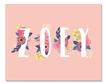 Zoey Baby Name Wall Art Zoey Baby Name Sign Zoey Party Printable Zoey Party Decorations Zoey Art