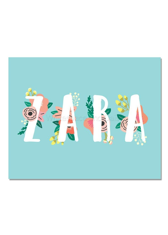 Zara Baby Name Wall Art Zara Baby Name Sign Zara Party | Etsy