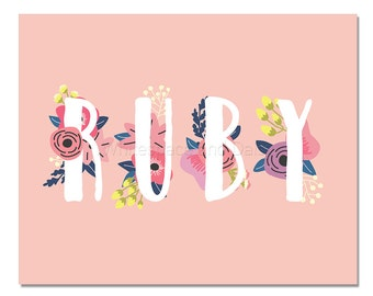 Ruby Baby Name Wall Art Ruby Baby Name Sign Ruby Party Printable Ruby Party Decorations Ruby Art